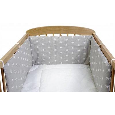 Hoofdbeschermer babybedje grijs met steren