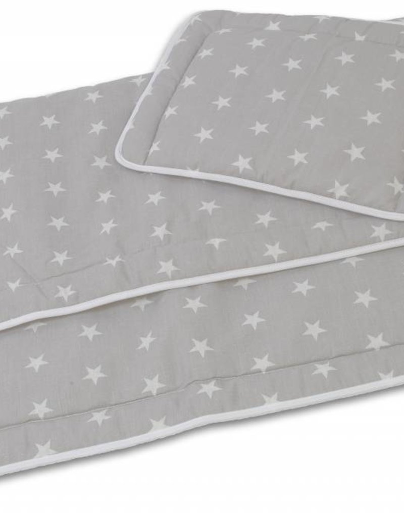 Hobea Hobea bed set kussentje en dekentje grijs sterren