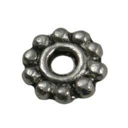 Cuenta DQ bali ring spacer bloem 6mm platin zilverkleur