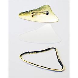 Cuenta DQ zijde en glas schilder broche met rand 64x32mm goudkleur