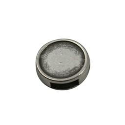 Cuenta DQ Leder-Schieberegler Runde Silber 6mm Loch