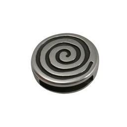 Cuenta DQ schieber perle zamak rund 13 mm Spirale