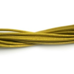 Cuenta DQ lederband  2mm yellowl metallic 1 meter .
