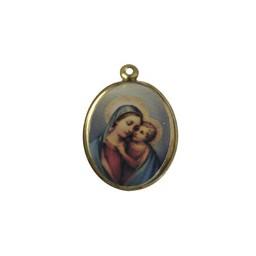 Cuenta DQ sieraden hanger medaillon met afbeelding ovaal 21mm goudkleur
