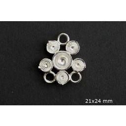 Cuenta DQ queen style 6-oogs ring verzilverd 21mm