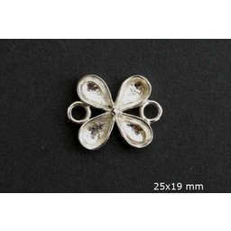 Cuenta DQ queen style clover plated 24mm 5pcs