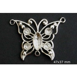 Cuenta DQ queen butterfly style silver plated 38mm