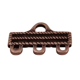Cuenta DQ distribution end 3 eyes 31x18mm antique copper