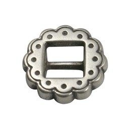 Cuenta DQ buckle  round western 6mm silver plating