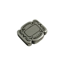 Cuenta DQ bead square silver plating