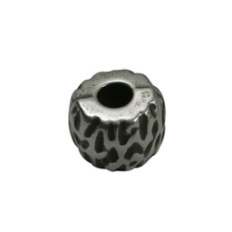 Cuenta DQ bead  wide rivet silver plating