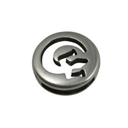 Cuenta DQ slider bead round salamander silver plating