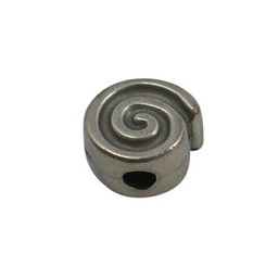 Cuenta DQ metal bead snail silver plating