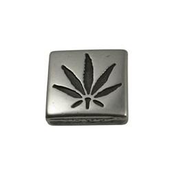 Cuenta DQ schieber perle zamak Cannabis Quadrat 13mm Versilberung