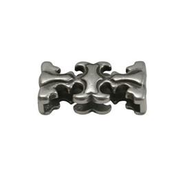 Cuenta DQ Metaal leerschuiver sierlijk 20x3mm zilverkleur