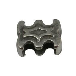 Cuenta DQ Metaal leerschuiver sier 10mm zilverkleur