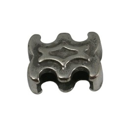 Cuenta DQ slider bead ornament 10mm silver plating