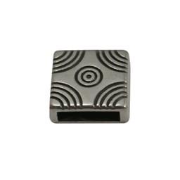 Cuenta DQ Metaal leerschuiver vierkant 10mm boogjes patroon zilverkleur