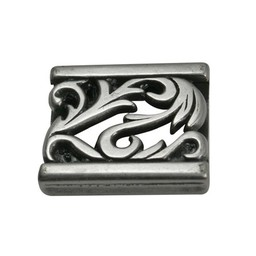 Cuenta DQ slider bead ornament 23X3mm silver plating