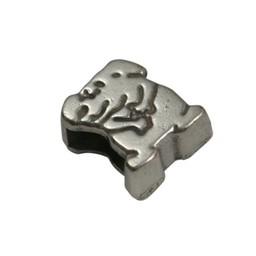 Cuenta DQ schieber perle zamak  6mm Hund zilver