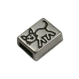 Cuenta DQ slider bead  oblong kitty 6mm silver plating