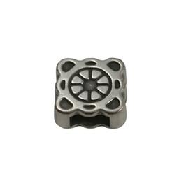 Cuenta DQ slider bead square  ornament 6mm