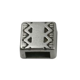 Cuenta DQ Metaal leerschuiver vierkant keltische rand 6mm