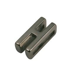 Cuenta DQ schiebe perle Metall alfabet 13mm Buchstaben: H
