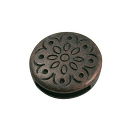 Cuenta DQ Rond flower dicht copper plating.