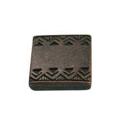 Cuenta DQ Metaal leerschuiver vierkant keltische rand 13mm brons kleur.