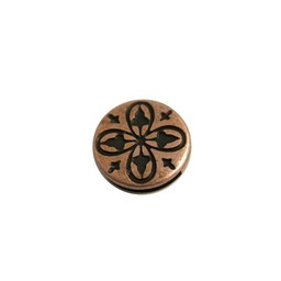 Cuenta DQ slider bead 13mm round clover copper plating.