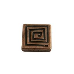 Cuenta DQ slider bead 13mm square. spiral copper plating.