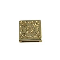 Cuenta DQ schieber perle zamak  13mm Blume Quadrat Vergoldung