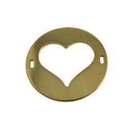 Cuenta DQ bedel 2 ogen plaatje rond hart 29mm goudkleurig