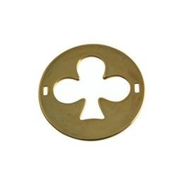 Cuenta DQ bedel 2 ogen plaatje rond klaver 29mm goudkleurig