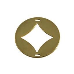 Cuenta DQ Schmuckverbinder Charm 2 osen Platte Rautenform 29mm Goldfarbe