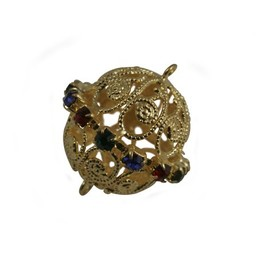 Cuenta DQ filigree bead multi-crystal gold 22x23mm exclusive