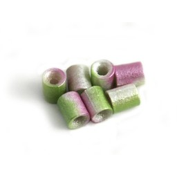Cuenta DQ Czech glass bead tube lime green lilac metallic