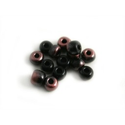 Cuenta DQ Czech glass bead black pink metallic