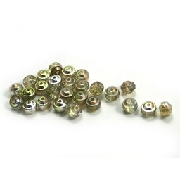 Cuenta DQ Czech glass bead limegreen champagne rose
