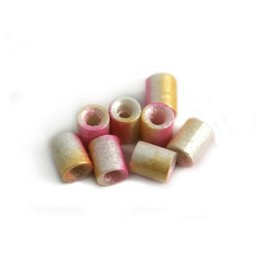 Cuenta DQ Czech glass bead tube pink orange