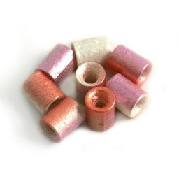 Cuenta DQ Glas kralen Tsjechie tube poederroze lila metalic
