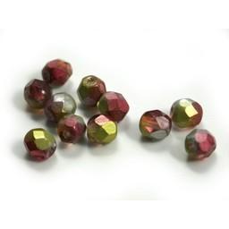 Cuenta DQ Glaskralen Tsjechie ruby facet kraal fuchsia lime metalic coating