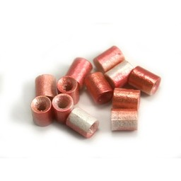 Cuenta DQ Tschechische Glasperlen rohr tube perle fuchsia lime metallic coating
