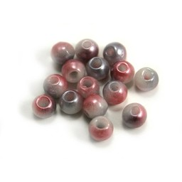 Cuenta DQ Czech glass bead pastel pink white grey metallic