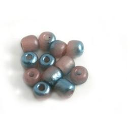 Cuenta DQ Glaskralen Tsjechie rocailles borduurkraal poederroze turquoise metalic