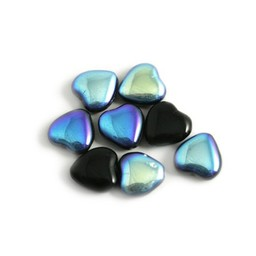 glass heart 10mm black AB coating