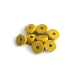Cuenta DQ 9x5mm wooden bead half round yellow