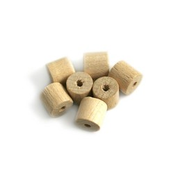 Cuenta DQ 8x8mm wooden bead tonnes of clear
