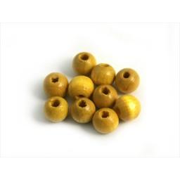 Cuenta DQ 6mm houten kraal geel rond